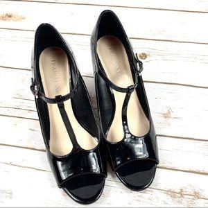 Franco Sarto Black Patent Leather Sadie Wedge Heel